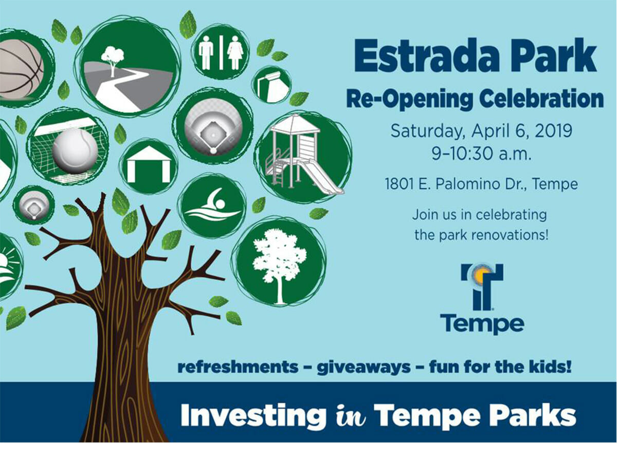 Grand Re-opening of Estrada Park in South Tempe on April 6